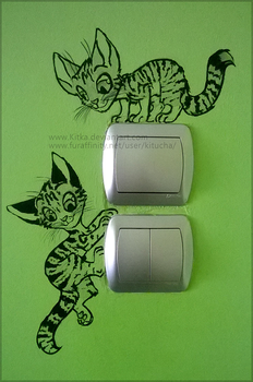 Kittehs on mah wall by Kitka
