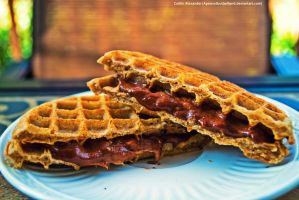 Pumpkin waffles with banana butter by Apeanutbutterfiend