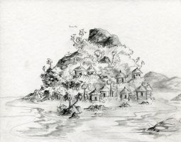 Tropical Island Concept Sketch by AethertechIndustries