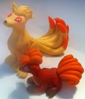 Vulpix and Ninetails by HandmadeDragons