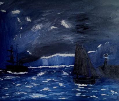 Monet Study: A Seascape, Shipping by Moonlight by CynicalSaint