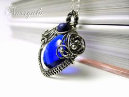 Blue Quartz and lapis Lazuli silver necklace by nurrgula