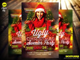 Ugly Christmas Sweater Party Flyer Template PSD by Industrykidz