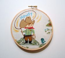 Cowboy Retro Fabric Embroidery Hoop by msmegas