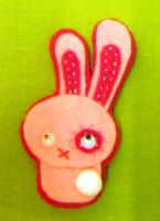little felt bunny pin by rosieok