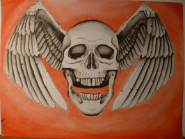 winged skull by bishop808