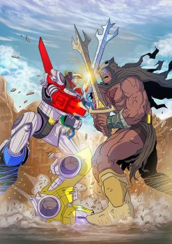 Voltron and Beast King duel by papillonstudio