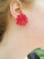 Large Red Rose Earrings by squeesqueak