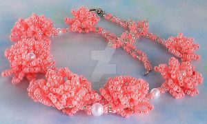 Beaded Flower Necklace by Craftcove