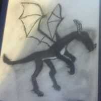 dragon, charcoal by whenwolveshowl