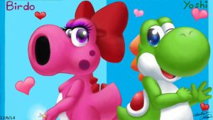 Yoshi and Birdo cute dino lovers by Bowser2Queen