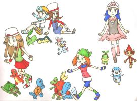 Female Playable Characters and Starter Pokemon by MajesticIllusion