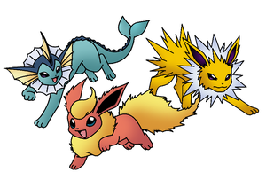 Jolteon, Flareon y Vaporeon by Thunderwest