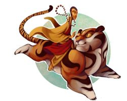 Monk and Tiger by ben-ben