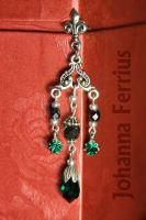 Victorian Gothic Emerald Swarovski Earrings by Johanna-Ferrius