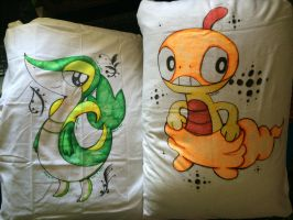 Scraggy and Snivy pillows by Skoryx