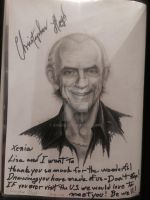 Christopher Lloyd signed on my portrait. by Smeha