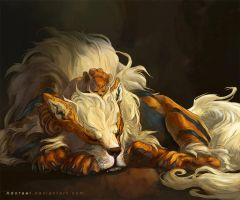 Arcanine and vulpix by Adorael