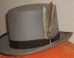 Gray Ankh Top Hat with Feathers 3 by Windthin