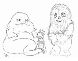 Cute Jabba the Hutt and chewbacca by ChristalLovePkmn