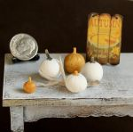 1:12 Scale White and Gold Pumpkins by fairchildart