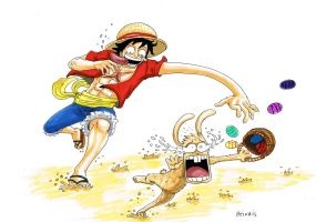 Luffy attack easter bunny by heivais
