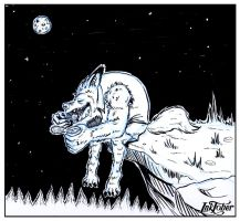 Inktober Day 2 Werewolf Eats His Can With The Moon by Holyengine