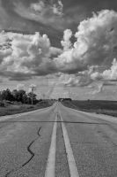 Clouds Above Two Lane Blacktop by lividity101