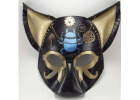 Steampunk Bast Mask by LucyLovesLeather