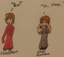 Hetalia- ChibiElle and ChibiAra by MapleBeer-Shipper