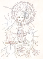 Mechanical Spider Lilies-lineart by Linelana