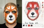 Red Panda makeup 1st try vs sketch by toberkitty