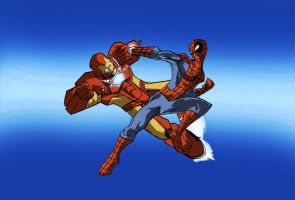 Iron man vs Spiderman(COMMISSION!) by Sabrerine911