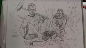 Captain Kirk and Commander Riker Smash Watermelons by amtaylor12