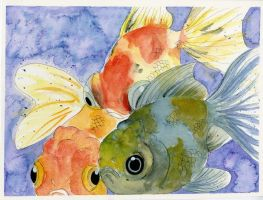 My Cute Goldfish Watercolor by Jillybean345