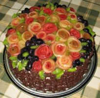 Choclate cake decorated with apple roses by JSjewelry