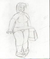 A fat girl panty flash. by Feyzer