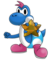 Super Mario Collab - Blue Yoshi (Paper Mario 2) by RadSpyro