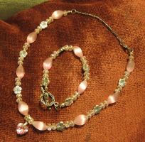 Pink Heart Necklace and Bracelet Set 1a by Windthin
