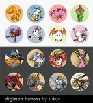 Digimon Doodle Buttons by tiikay