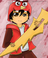 Re-draw : Boboiboy Earth with Red Angry Bird Cap by Fia-V98
