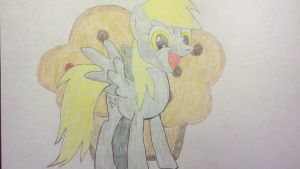 Derpy Hooves and her muffin by konadh324