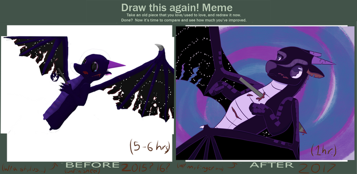 Wowie. Improvement. (Draw It Again Meme) by Puppywings