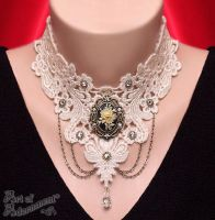 Patina Rose Cameo Rhinestone Venezia Lace Choker by ArtOfAdornment