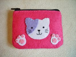 Pink Neko Purse Coin by OkashiBurochi