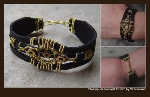 Steampunk bracelet for him by bodaszilvia
