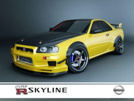 nissan skyline GTR R34 yellow by 3dmanipulasi
