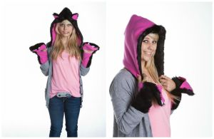 Black and Pink Cat Hat with Mittens/Wrist Warmers by kawaiibuddies