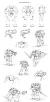 Space Marine MK-4 sketches by Nuditon