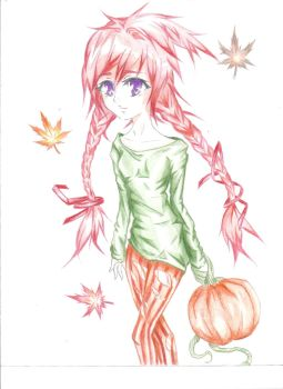 pumpkins, leaves, grow and fall by mizutouketzu